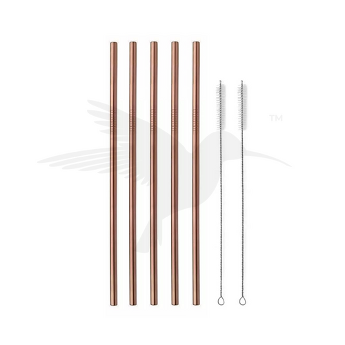 stainless steel straws in rose gold