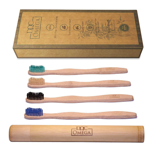 pack of four bamboo toothbrushes