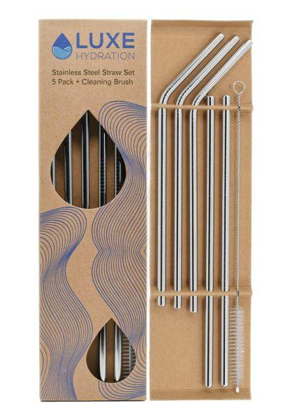 stainless steel straws in a pack of 5 with straw cleaner