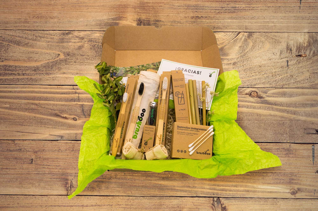 eco friendly toothbrushes, straws, cotton swabs and dental floss