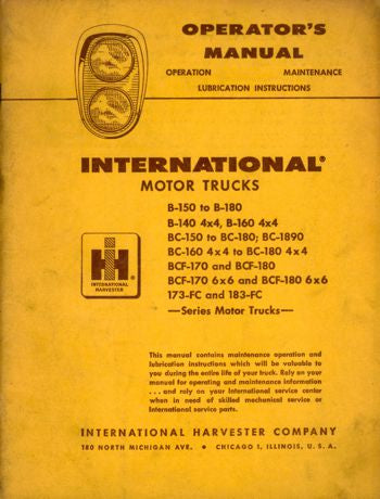 International Truck Operator's Manual for B, BC, BCF, & FC Series