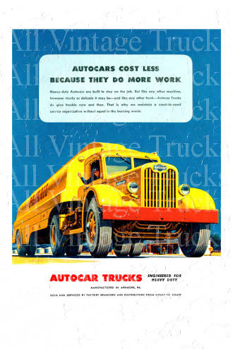 Vintage Poster - AutoCar Trucks - Cost Less Because They Do More Work