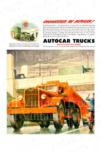 Vintage Poster - AutoCar Trucks - Engineered By Autocar!