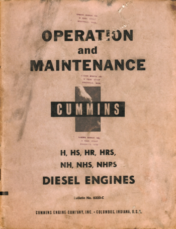 Cummins Operation and Maintenance Manual for H, HS, HR, HRS, NH, NHS and NHRS Diesel Engines