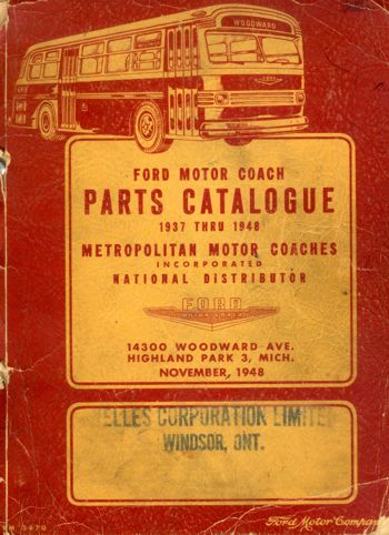 Ford Motor Coach Parts Catalogue 1937 Thru 1948