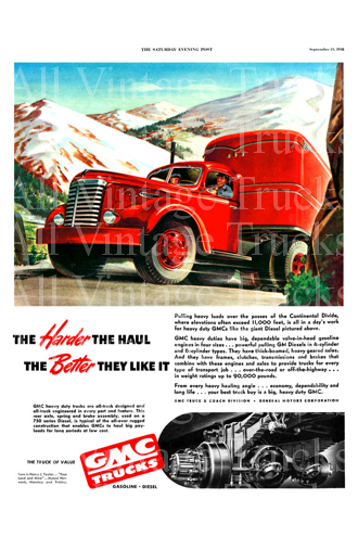 Vintage Poster-GMC Trucks-The Harder the Haul