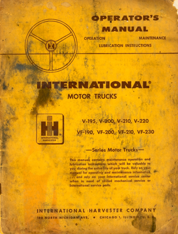 International Trucks Operator's Manual for V and VF Series Trucks with V8