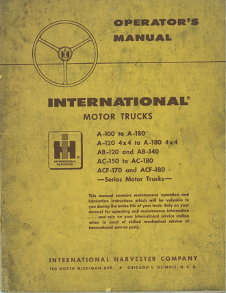 International Trucks Operator's Manual for A Series