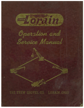 Lorain Operation and Service Manual