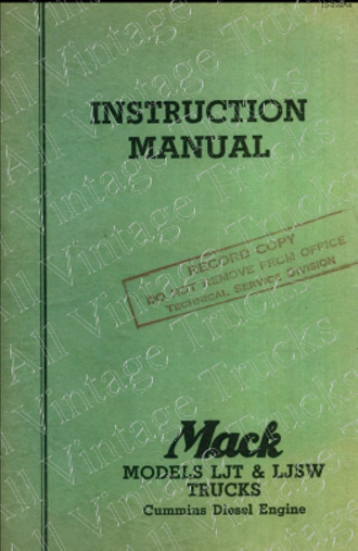 Operation Manual for Mack Trucks Series LJ
