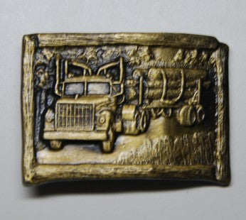 International Truck Logger Solid Brass Belt Buckle