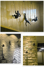 Industrial Style Climbing Man Resin Iron Wire Wall - Urban Factorie