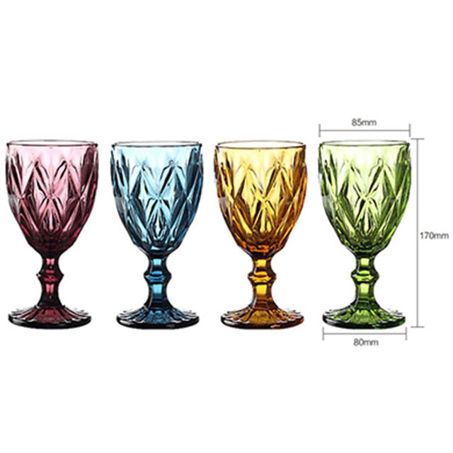 Multicolor Carved Goblet Wine Glass - Urban Factorie