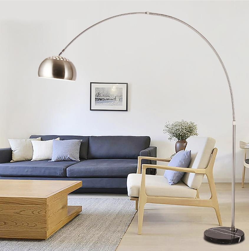 Stainless steel floor lamp Living room lamp Nordic lighting creative simple LED remote control fishing lamp vertical floor lamp