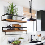 Metal Wooden Rustic Floating Shelf - Urban Factorie