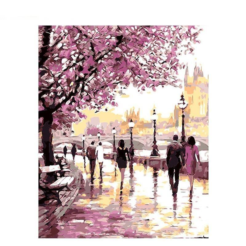 Cherry Blossoms Road Oil Painting - Urban Factorie