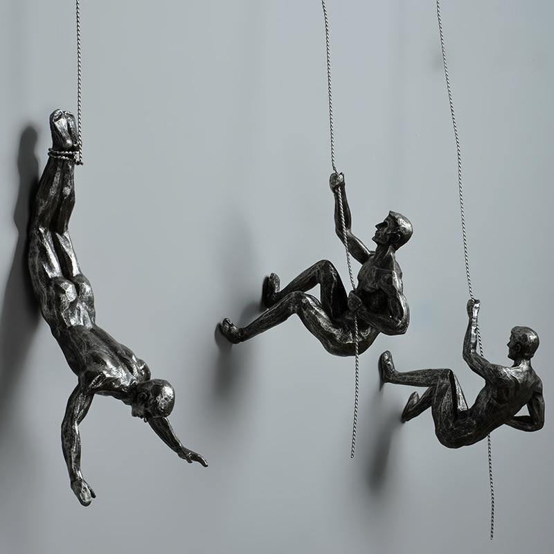 Industrial Style Climbing Man Resin Iron Wire Wall