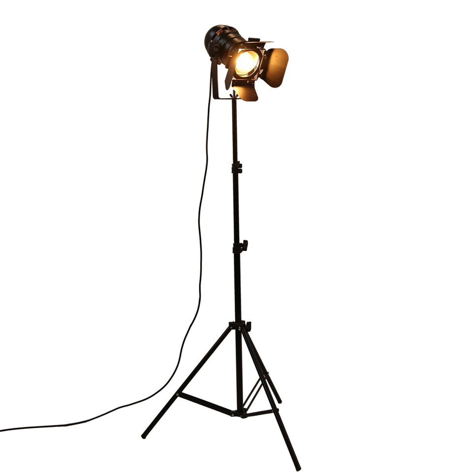 Industrial Bar Retro Tripod Black Floor Lamp