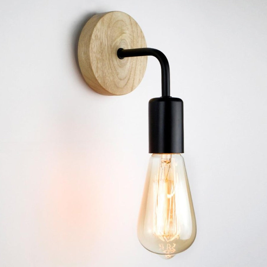 Retro Wood Industrial Wall Lamp