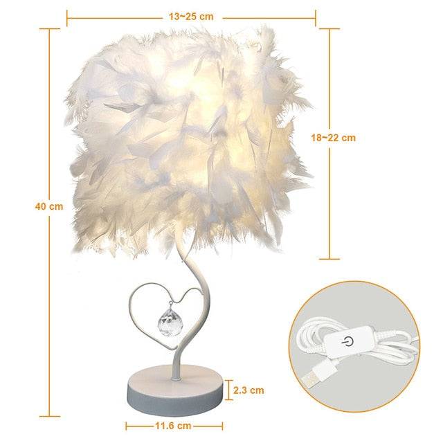 Heart Shape Feather Crystal Table Lamp - Urban Factorie