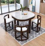 Marble Dining Table with 4 Chairs Set