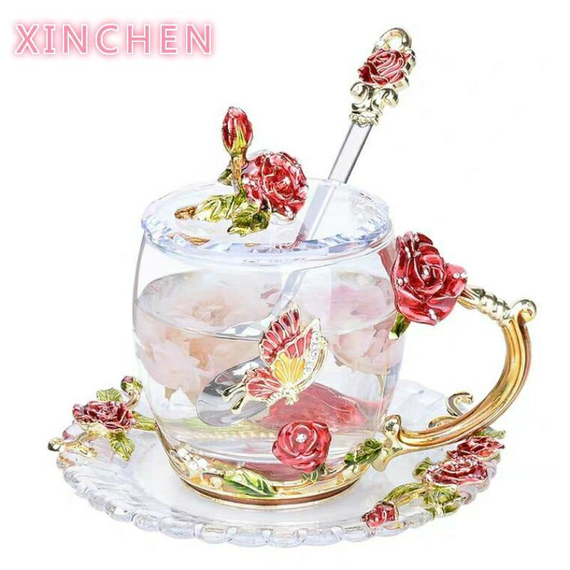 Rose Glass Tea Cup Set
