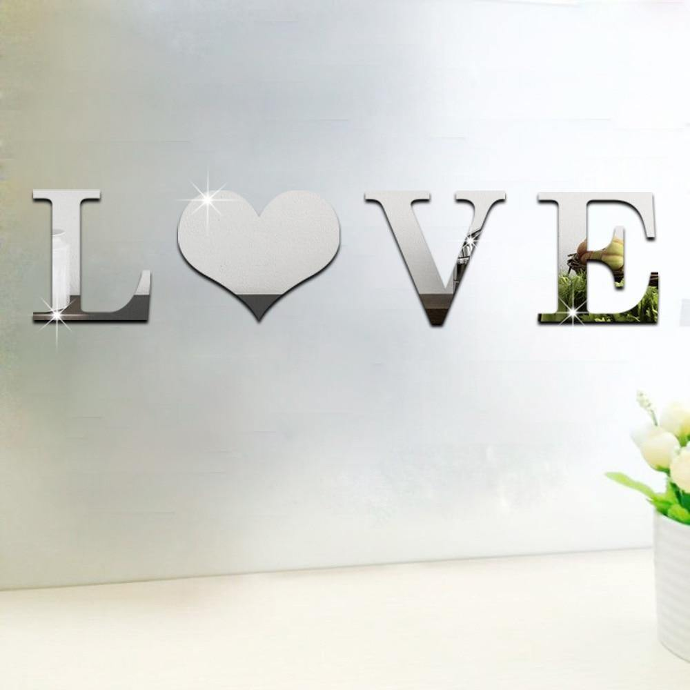 "4Pcs/Set Small Letter ""HOME"" ""LOVE"" DIY Mirror Wall Decor - Urban Factorie"