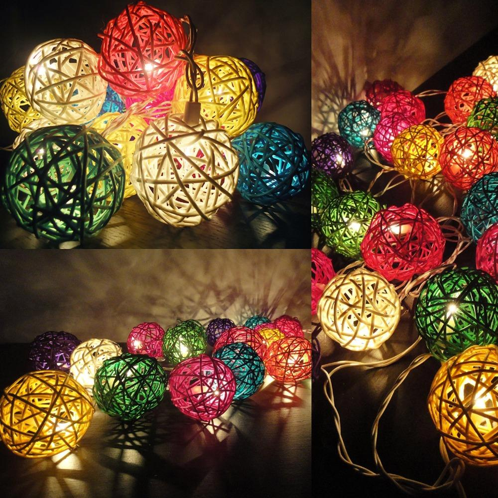 Wicker Rattan Balls Garlands Holiday Lighting