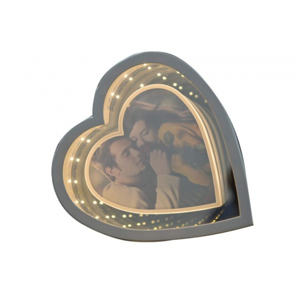 Magic Mirror Heart Shape Photo Frame with Led Light