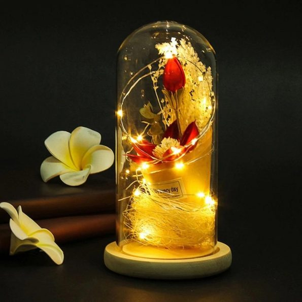 Flower Dressed Lighting Glass Vase With Wood Base
