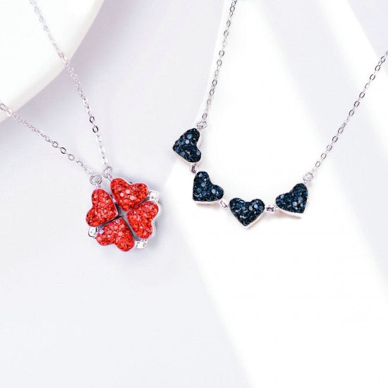 2-in-1 Four-Leaf Clover Heart Necklace
