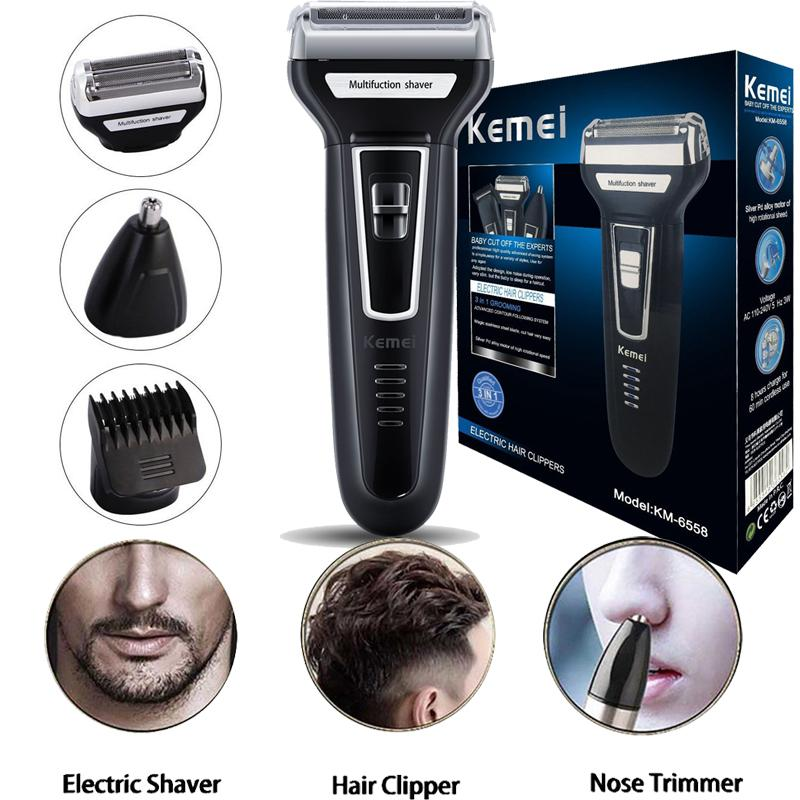 Kemei KM-6558 – Reciprocating Electric Shaver – Black