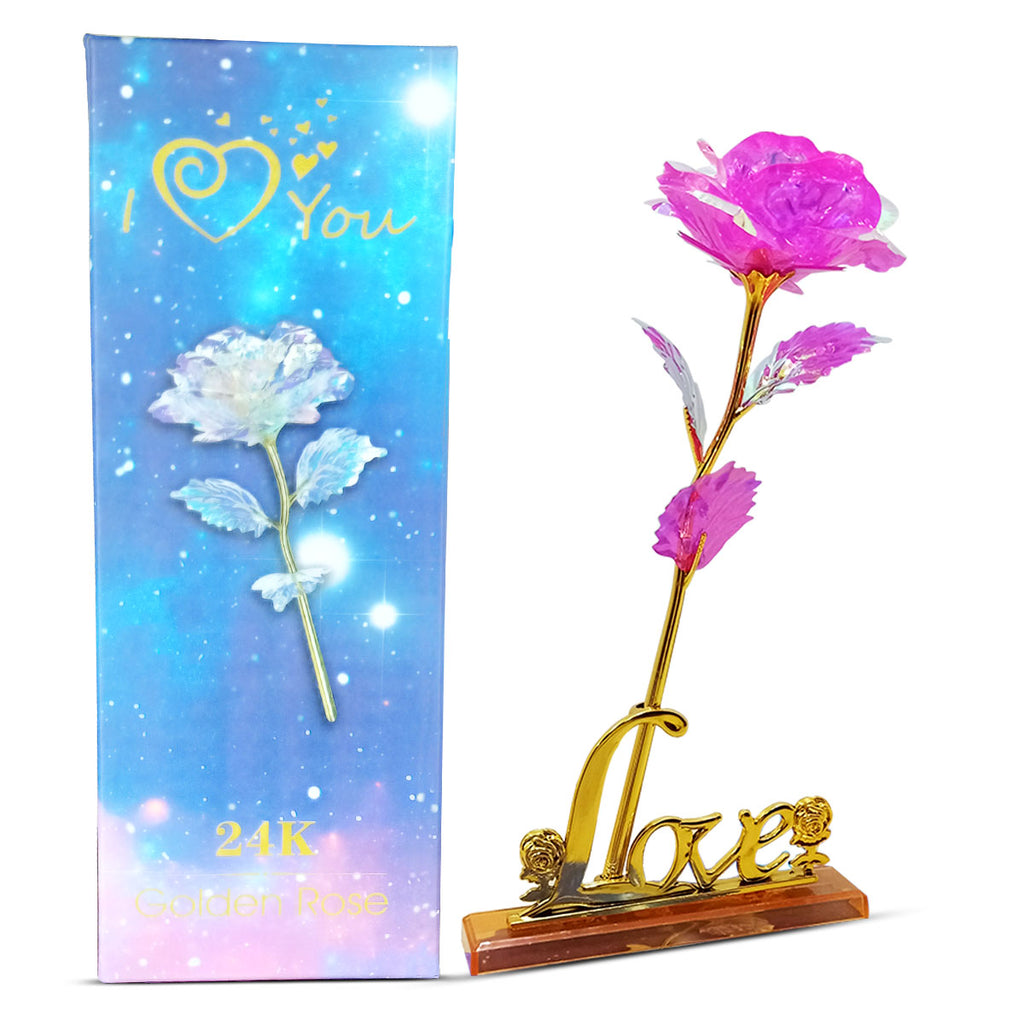 24K Pink Galaxy Rose With Love Stand