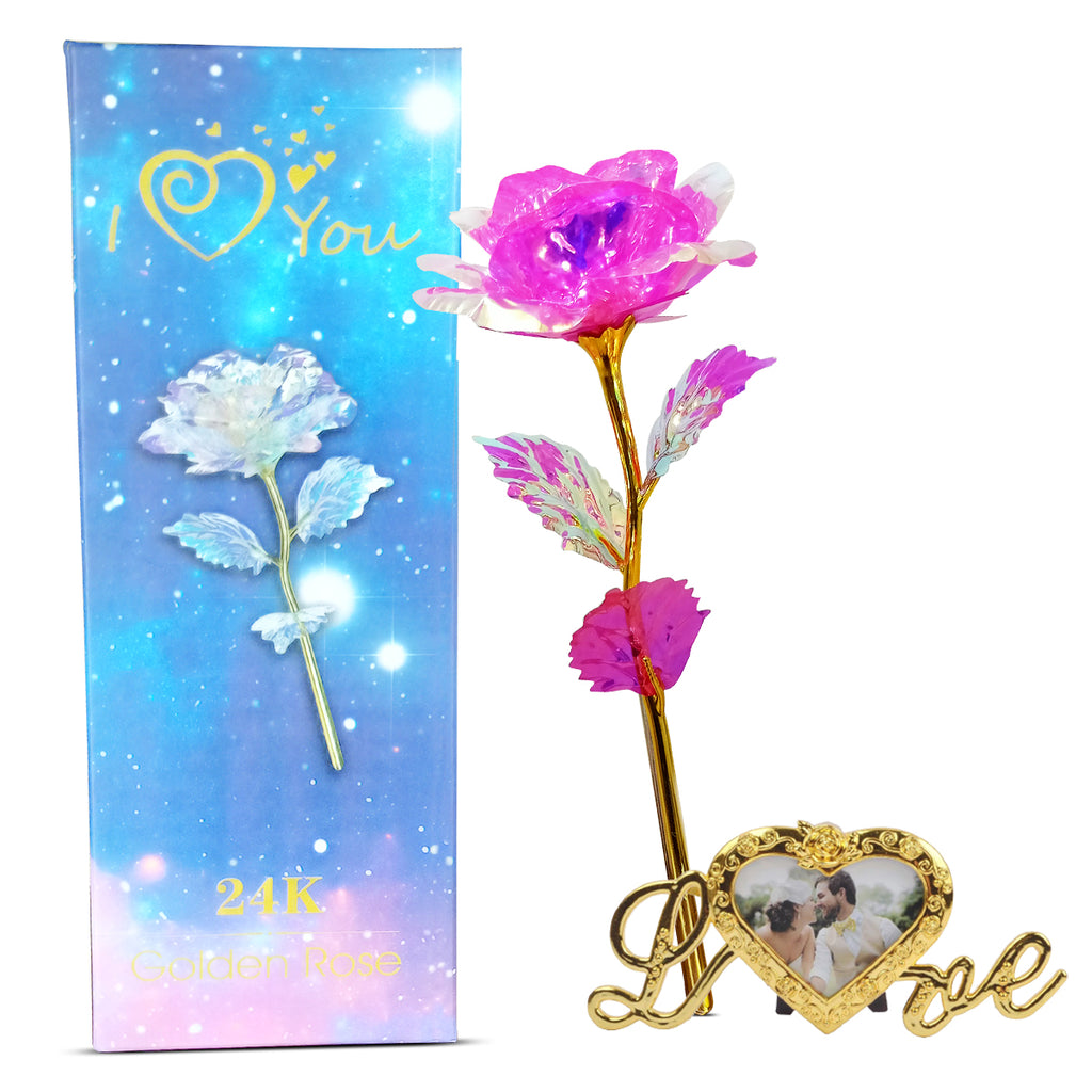 24K Pink Galaxy Rose With Photo Frame