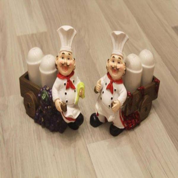 French Chef Cart Salt and Pepper Shaker Set