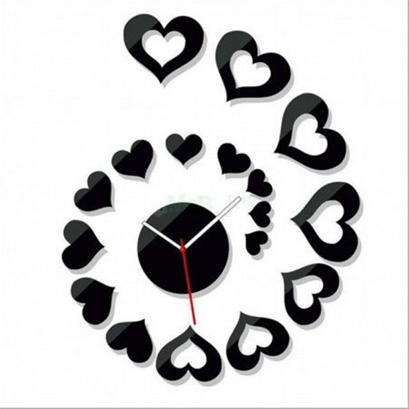 Heart Wall Clock DIY Acrylic Sticker