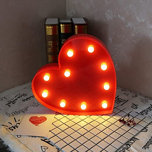 3D LOVE HEART LED LAMP – RED