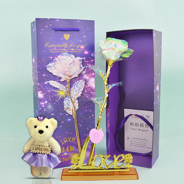 24K Gold Plated Galaxy Rose LED with Love Stand and Bear