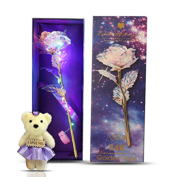 24k Gold Plated Galaxy Rose With LED And Bear