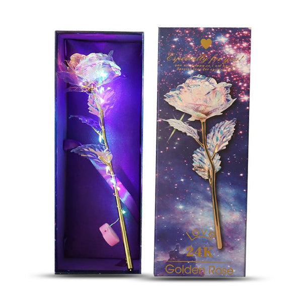 24k Gold Plated Galaxy Rose With LED