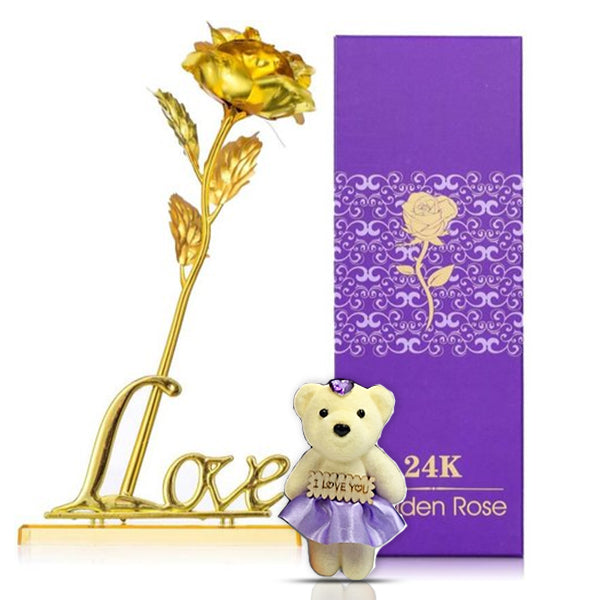 24K Gold Plated Rose (Gold) With Love Stand and Bear