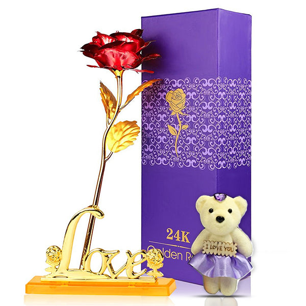 24K Gold Plated Rose (Red) With Love Stand and Bear