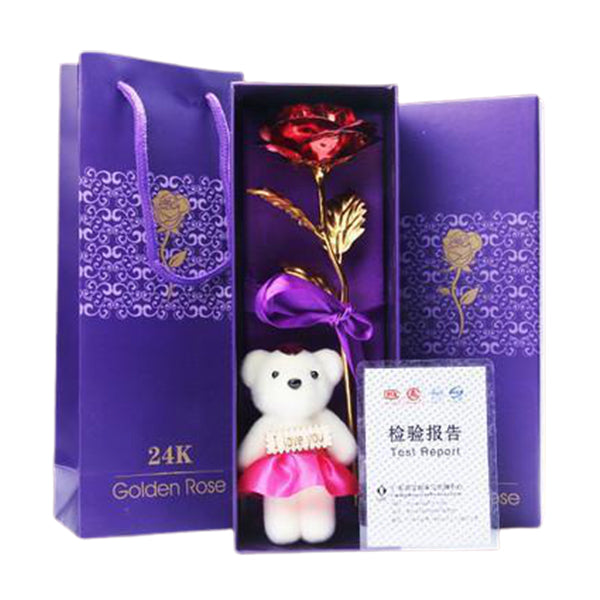 24K Gold Plated Rose (Red) with Bear