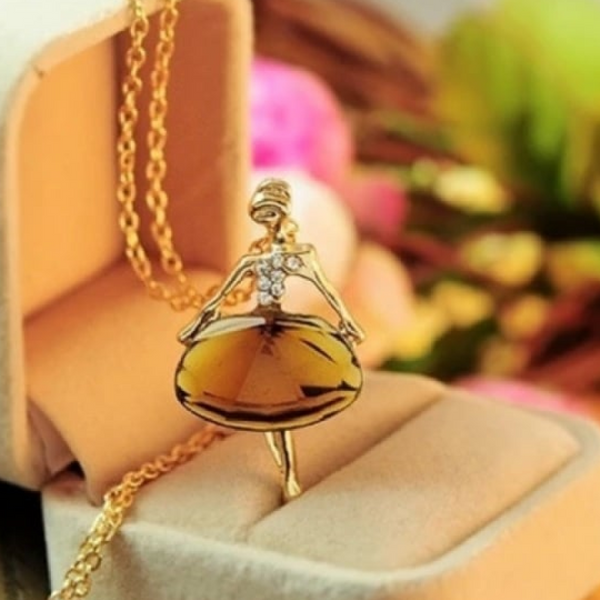 Ballerina Shiny Girl Big Pendant Long Chain Necklace For Girls