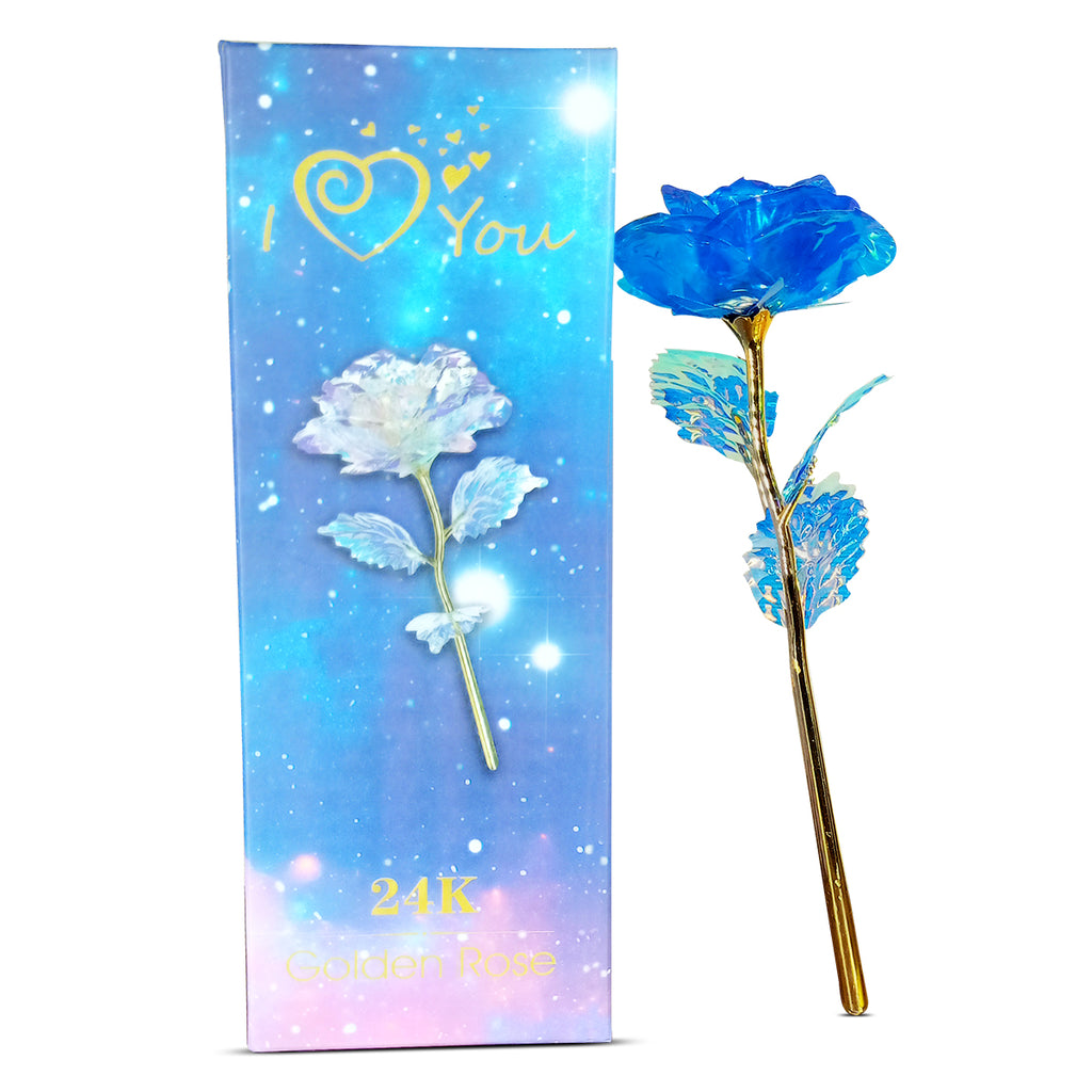 24K Blue Galaxy Rose