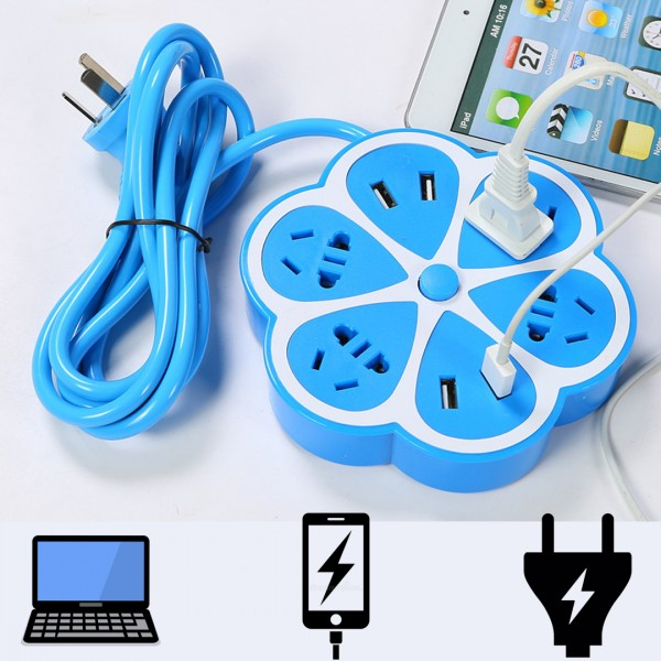 5 in 1 USB Power Extension 4 Plug 4 USB Port