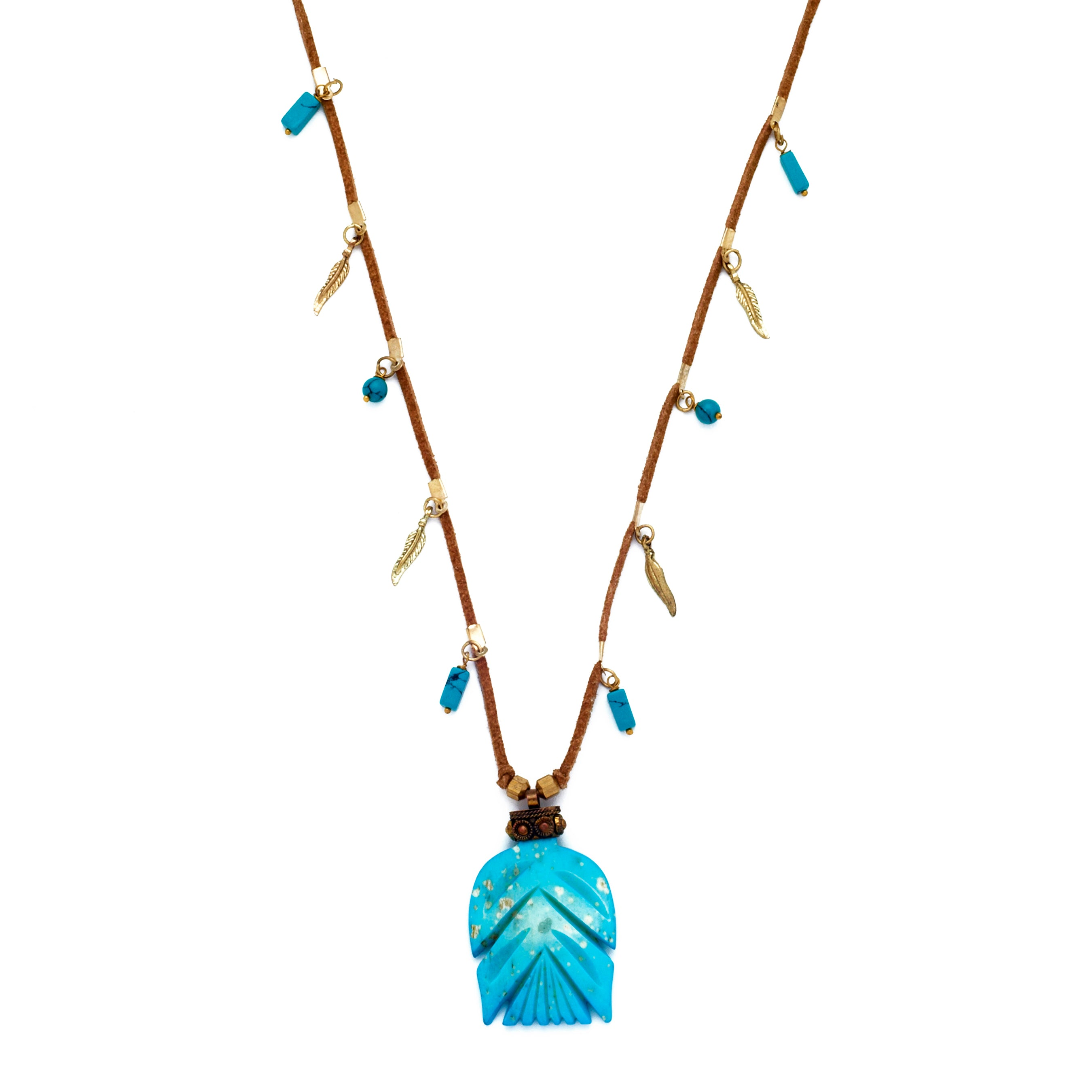 Suede & Turquoise Pendant Necklace
