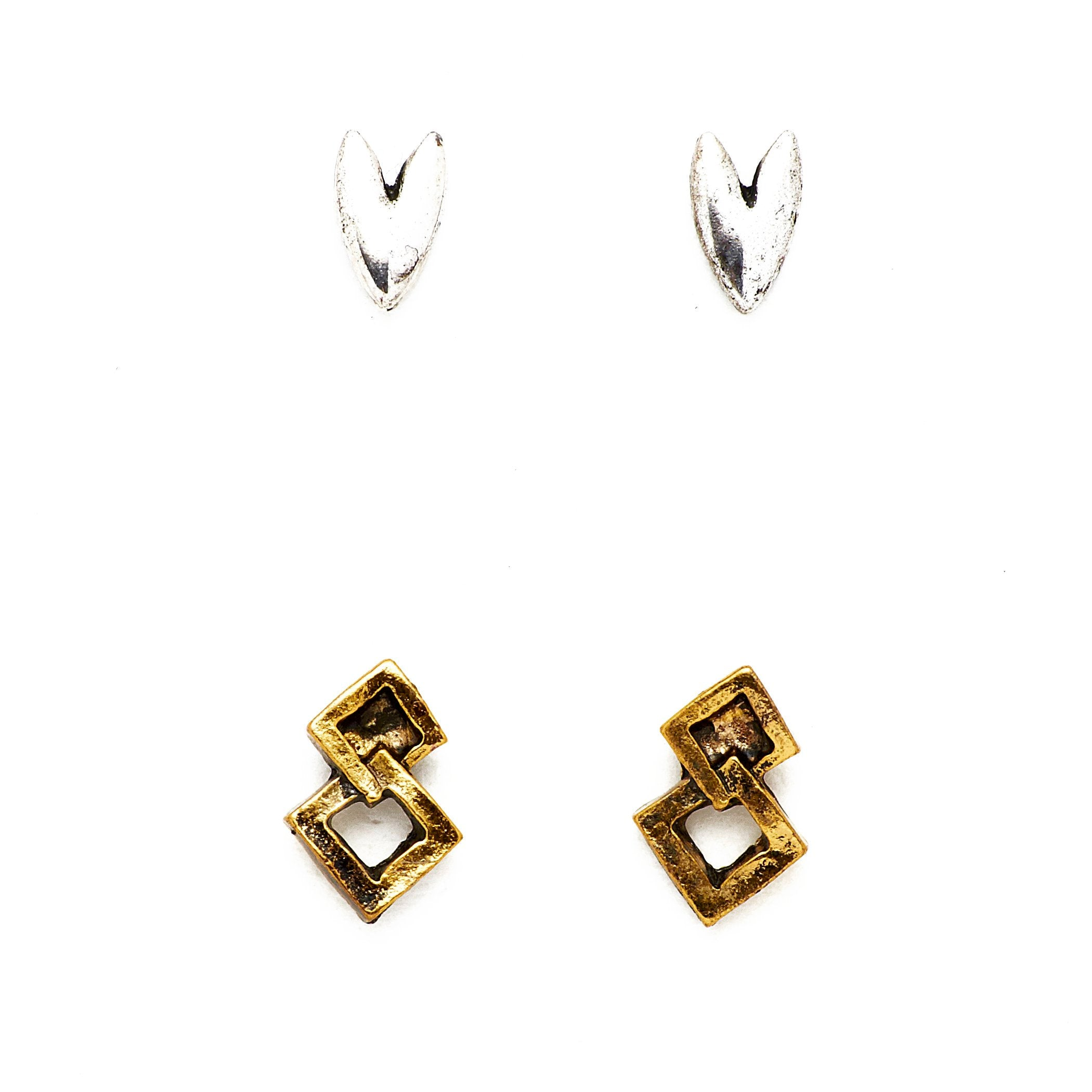 Silver Heart + Gold Double Diamond Studs