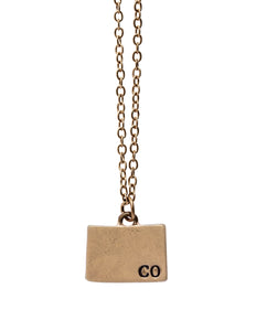 """Colorado"" State Initial Necklace"