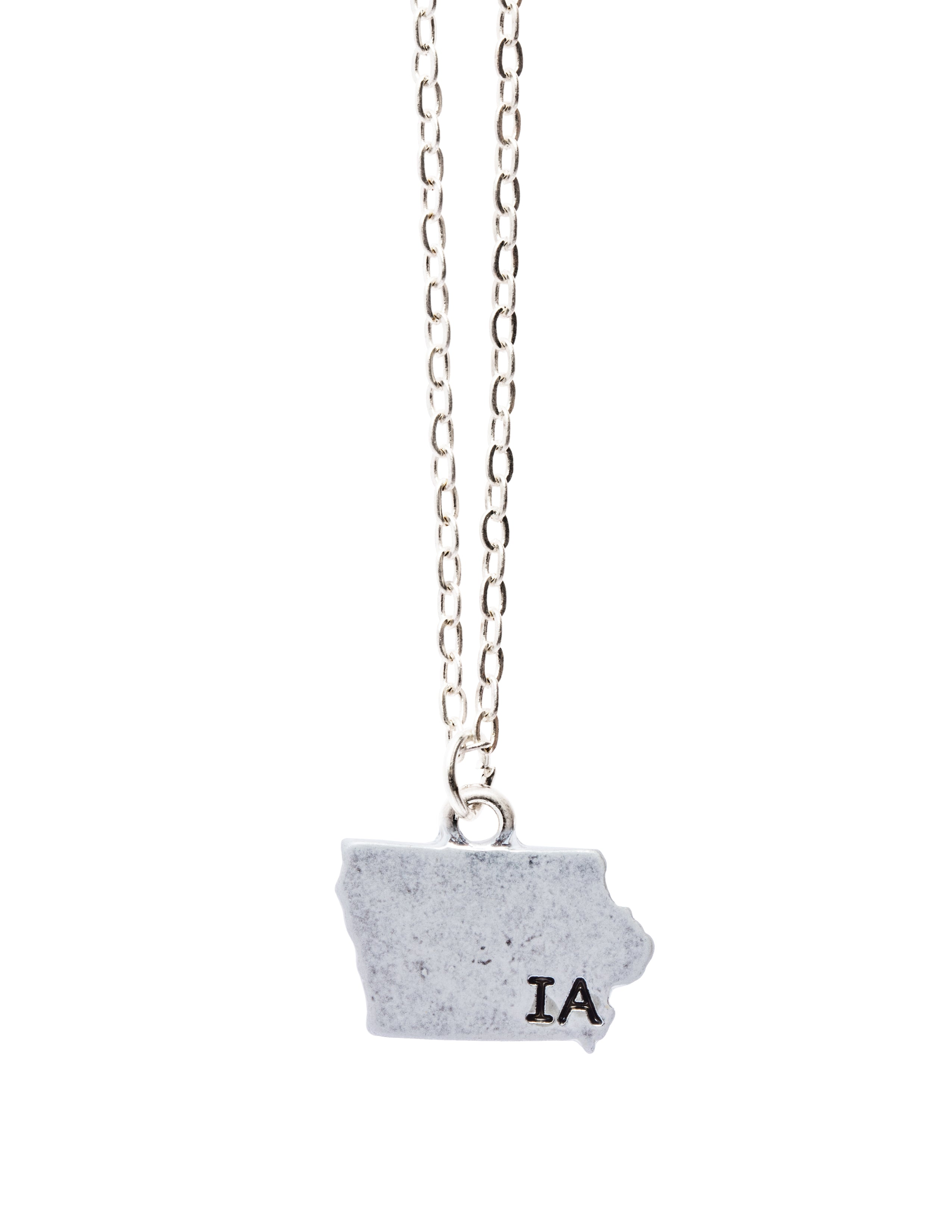 """Iowa"" State Initial Necklace"